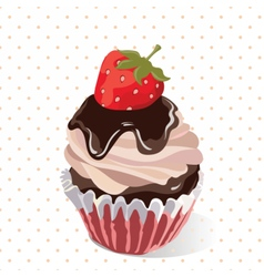 Delicious Strawberry and chocolate Cupcakes vector image vector image