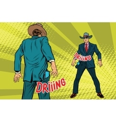 Duel businessmen on smartphones in the style of vector
