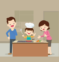 Family and son cooking vector