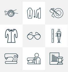 fashion icons line style set with needle set vector image