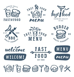 Fast food labels template in brush drawing style vector