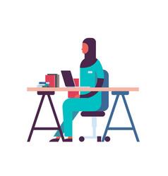 female arabic scientist working laboratory doing vector image