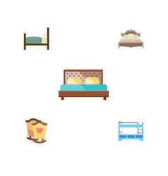flat bedroom set of bunk bed bed bedroom and vector image