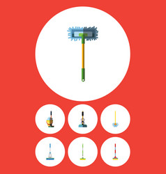 Flat icon cleaner set of broomstick sweep vector
