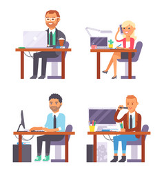 Flat people work place business worker vector