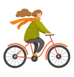 Girl riding cycling bicycle in autumn season vector