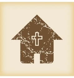 Grungy christian house icon vector image