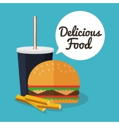Hamburger soda fries and fast food design vector