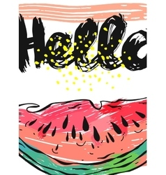 Hand drawn abstract card of watermelon and vector