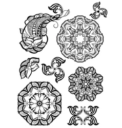 Hand-drawn mehendi ornamental elements and mandala vector