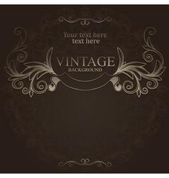 hand drawn vintage emblem with ribbon vector image