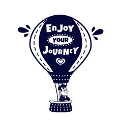 happy man traveling by hot air balloon vector image