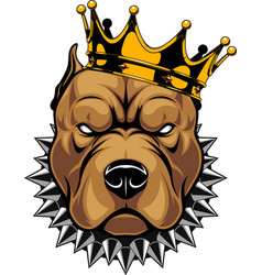 Head a dog in crown vector