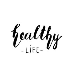 healthy life lettering vector image