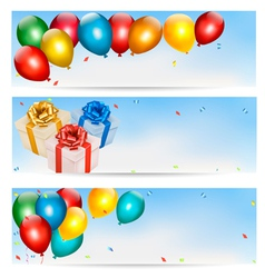 Holiday banners with colorful balloons and gift vector