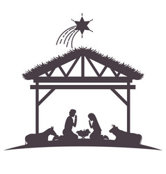 Holy family in stable with animals silhouettes vector