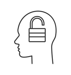 human head with open lock inside linear icon vector image