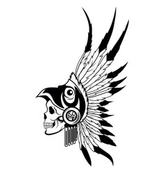 indian skull with headdress feathers the vector image