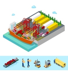 Isometric Sea Cargo Port Freight Container Ship vector