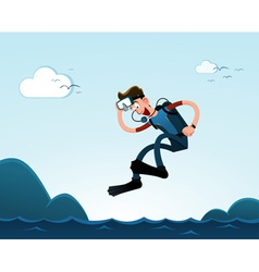 jumping to the sea vector image