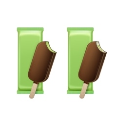 Kiwi pistachio bitten choc-ice in glaze on stick vector