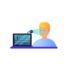 laptop web cam security system face recognition vector image