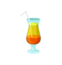 layered orange and yellow alcoholic cocktail with vector image