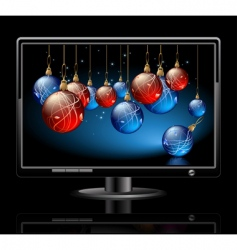 lcd panel with Christmas balls vector image