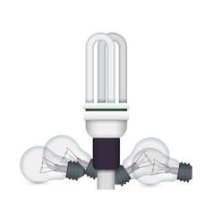 light bulbs fluorescent incandescent vector image