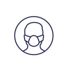 man in mask line icon on white vector image