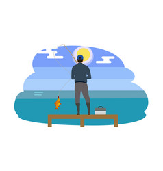 Man standing on wooden pier vector