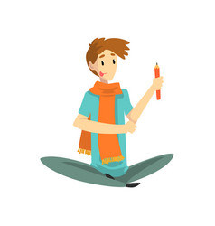 Man with artistic profession painter or sculptor vector