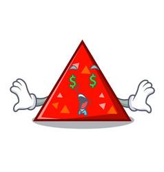 Money eye triangel mascot cartoon style vector