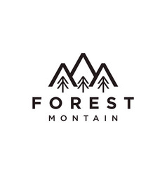 Mountain and forest line art logo icon style vector