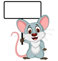 mouse cartoon posing with blank sign vector image