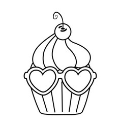 Muffin with heart sunglasses black and white vector