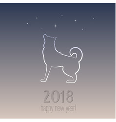 new year card with a dog - symbol of 2018 vector image