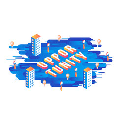 opportunity isometric text design with letters and vector image