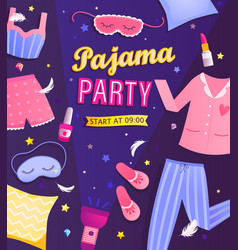 pajama partys invitation flyer vector image