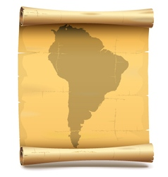 Paper Scroll with South America vector
