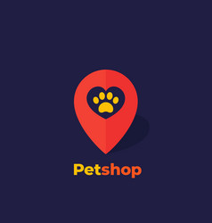 Paw and heart in mark pet shop logo vector