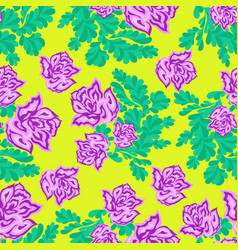 Pink roses on a yellow background seamless pattern vector