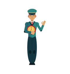 postman in uniform holding clock in front of his vector image