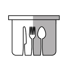 Pot fork spoon knife kitchen symbol linear vector
