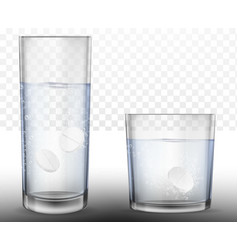 Realistic effervescent tablets in glass of water vector
