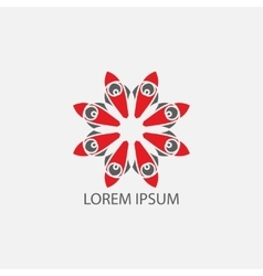 Red geometrical symbol or logo for vector