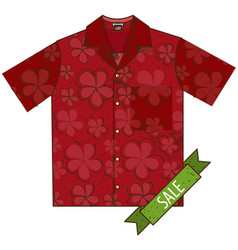 Red shirt with short sleeves color of clothes vector