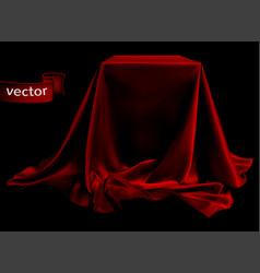 Red silk fabric covering the podium beautiful vector