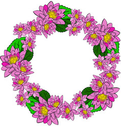 Round wreath with pink water lotus and green vector