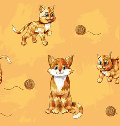 Seamless pattern cartoon ginger cats on vector